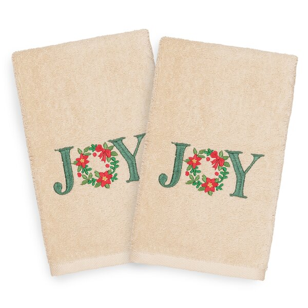 Beam Joy Embroidered Luxury 100% Turkish Cotton Hand Towel (Set of 2) by The Holiday Aisle